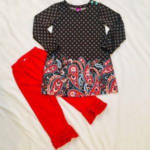 J. Khaki Girls 4T Dress & Ruffle Bottom Pants Set